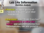 lab 14a information nutrition analysis