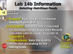 lab 14b information selecting nutritious foods