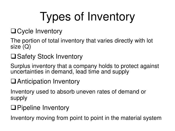 inventory management types of inventory Properly managing inventory requires a system of some sort it doesn't matter if the system consists of writing inventory levels on the back of an envelope or using the most sophisticated radio.