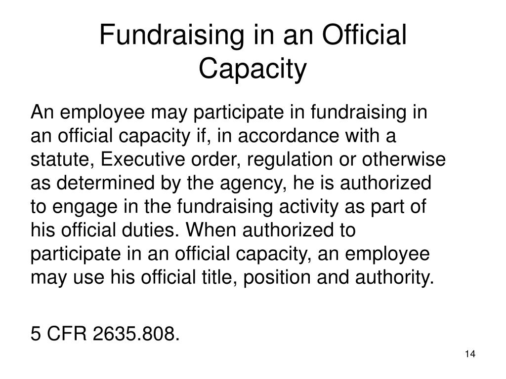 Fundraising in an Official Capacity