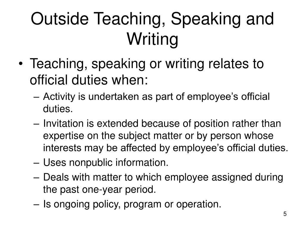 Outside Teaching, Speaking and Writing