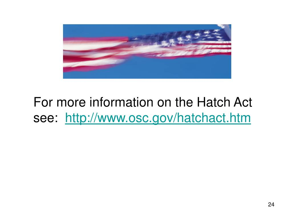 For more information on the Hatch Act see: