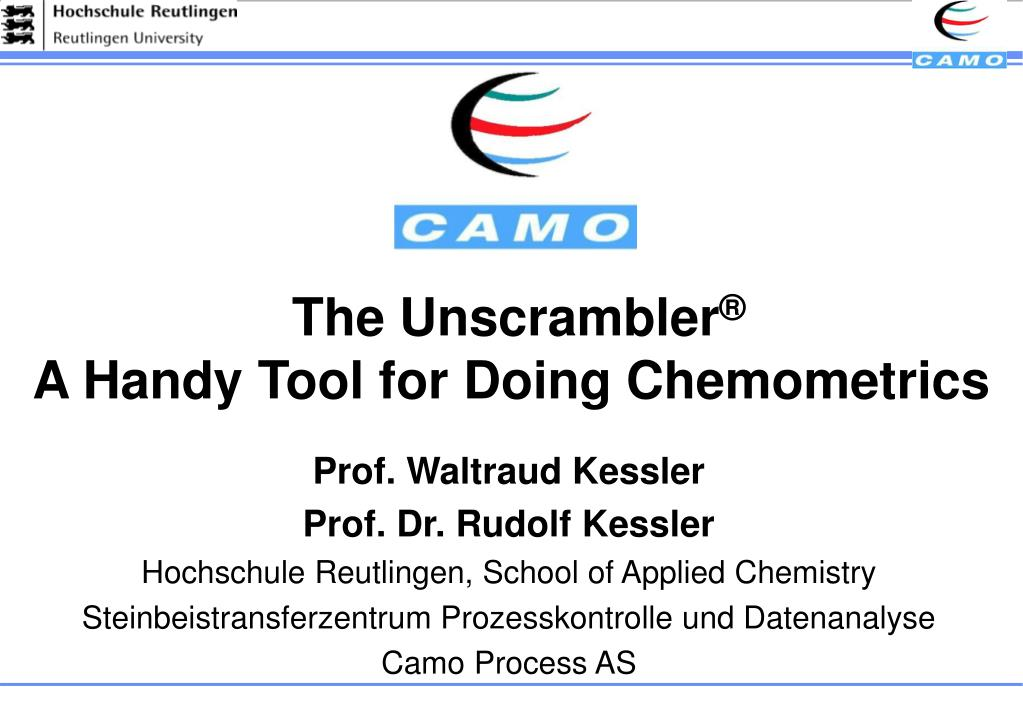 the unscrambler a handy tool for doing chemometrics l.