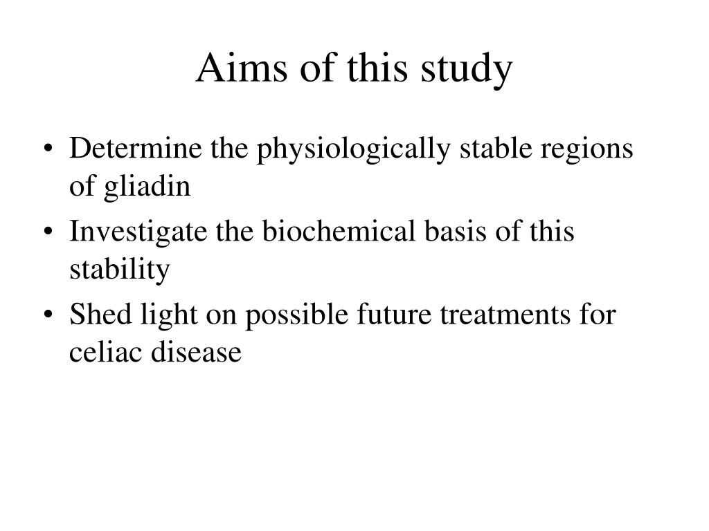 Aims of this study