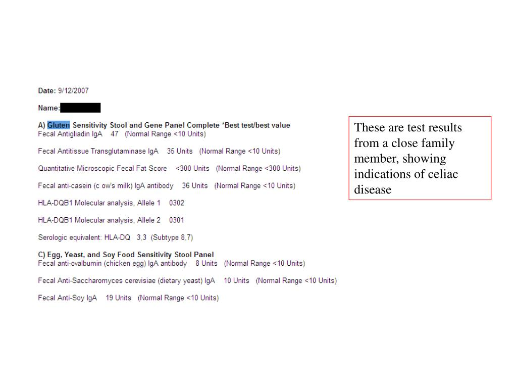 These are test results from a close family member, showing indications of celiac disease