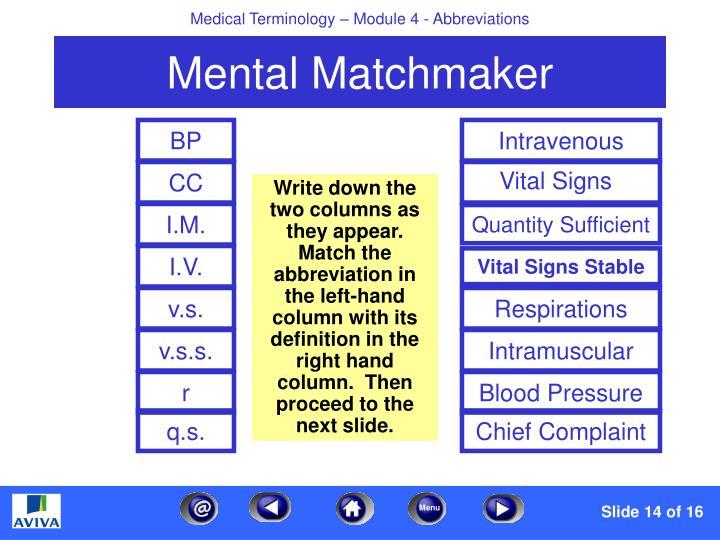 Mental Matchmaker BP Intravenous