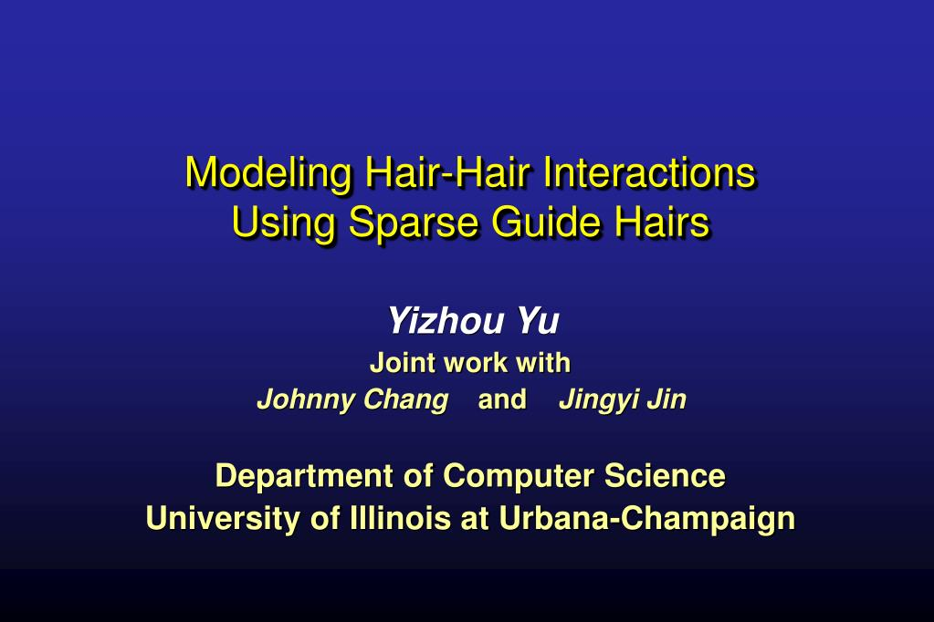 modeling hair hair interactions using sparse guide hairs l.