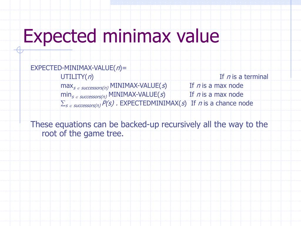 Expected minimax value