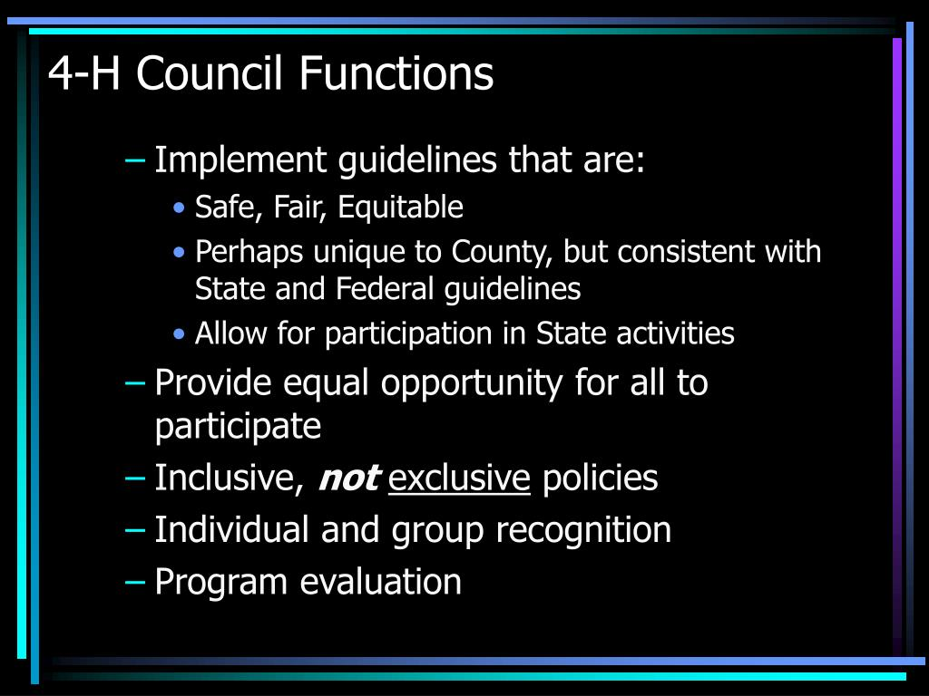 4-H Council Functions