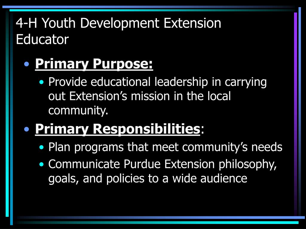 4-H Youth Development Extension Educator