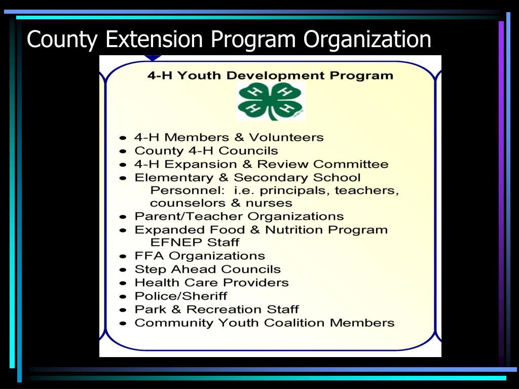 County Extension Program Organization