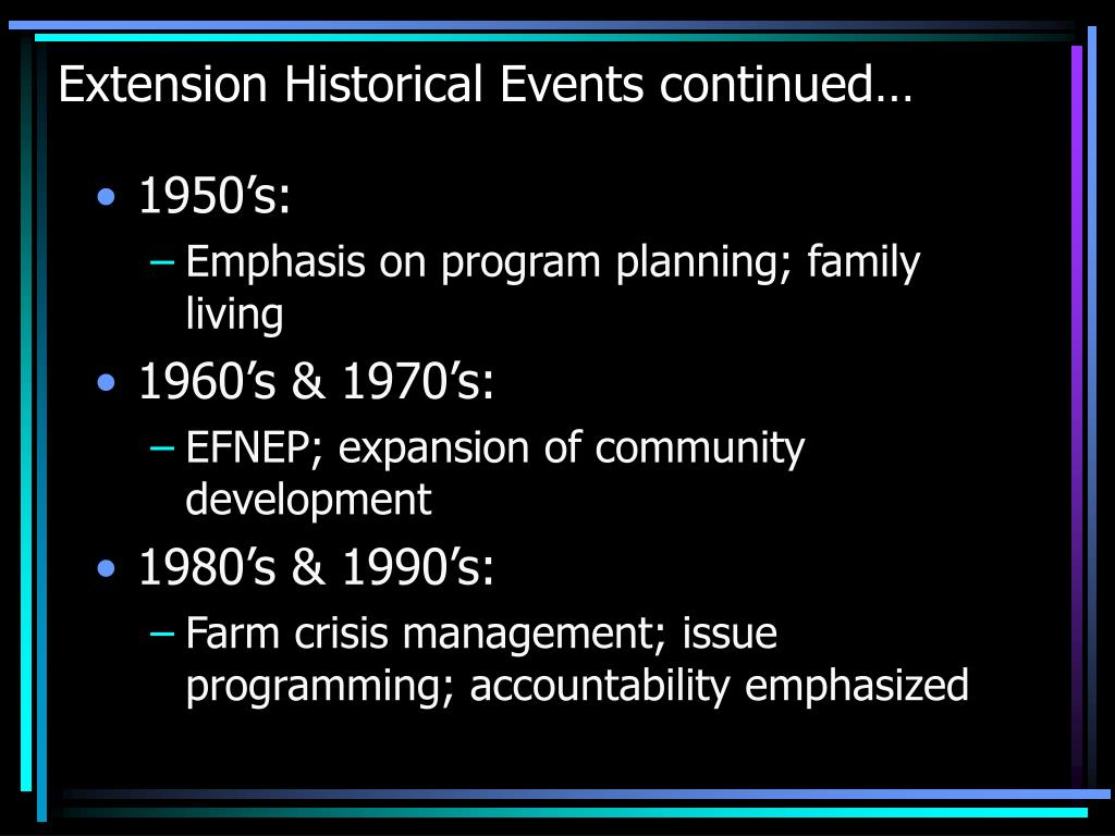 Extension Historical Events continued…