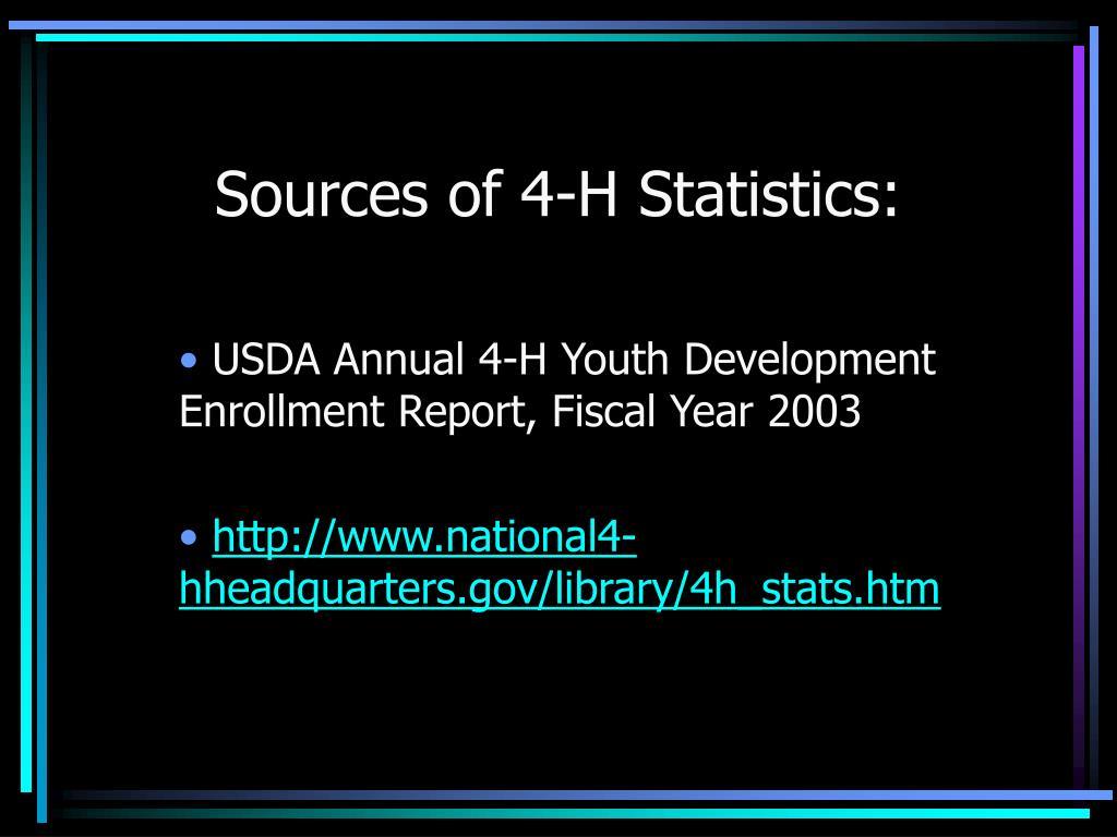 Sources of 4-H Statistics: