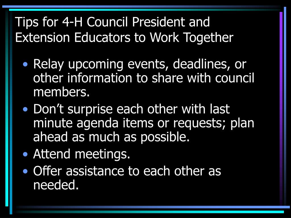 Tips for 4-H Council President and Extension Educators to Work Together