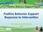 positive behavior support response to intervention