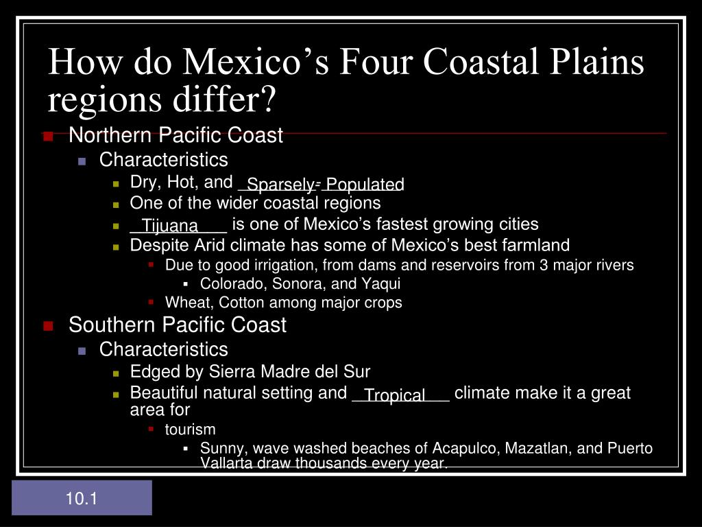 How do Mexico's Four Coastal Plains regions differ?
