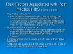 risk factors associated with post infectious ibs dupont cid 2008