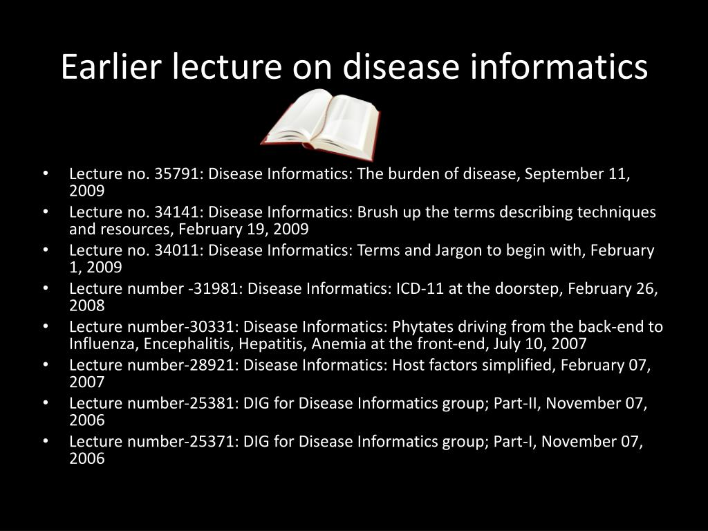 Earlier lecture on disease informatics
