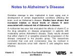 notes to alzheimer s disease