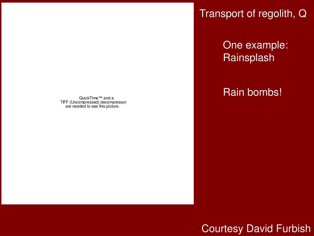 Transport of regolith, Q