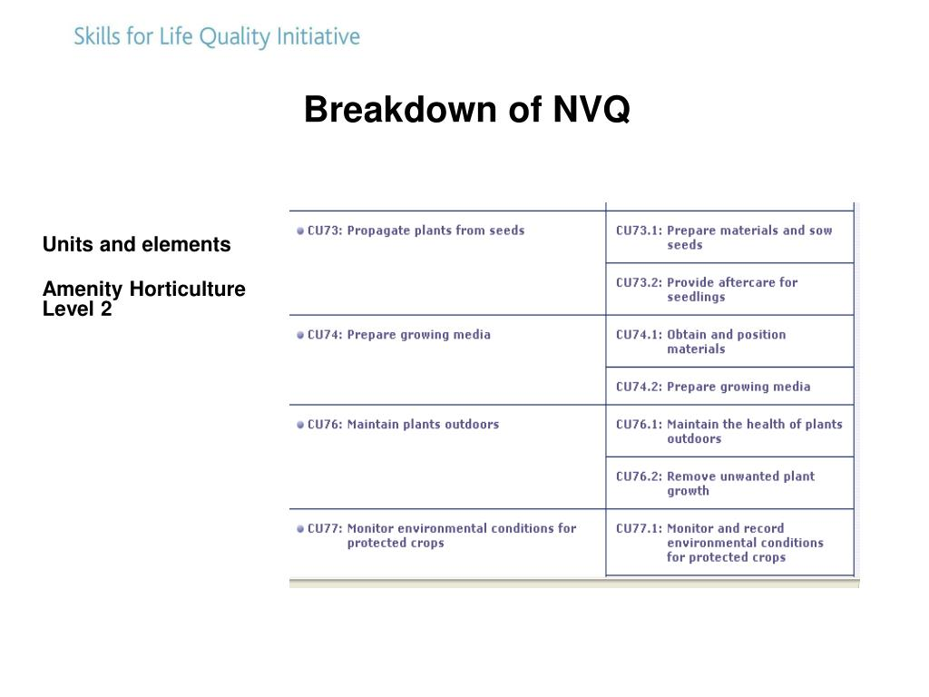 Breakdown of NVQ