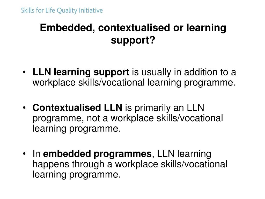 Embedded, contextualised or learning support?