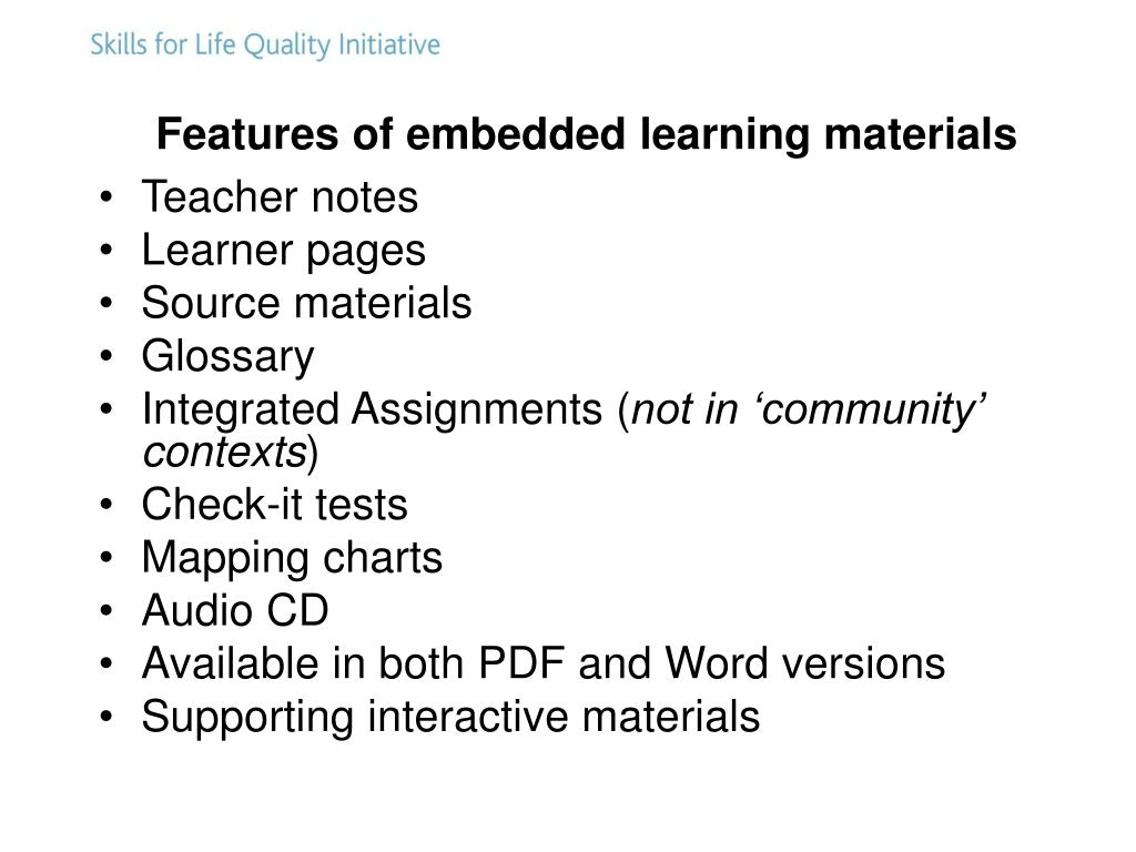 Features of embedded learning materials