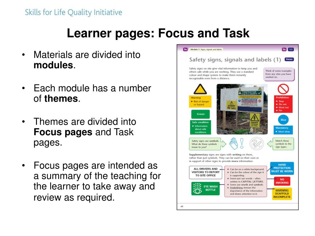 Learner pages: Focus and Task