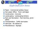 eight indicator items