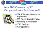 how will purchases of epa designated items be monitored