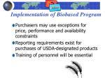 implementation of biobased program