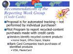 recommendations of the reporting work group credit cards
