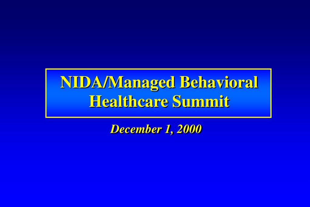 NIDA/Managed Behavioral