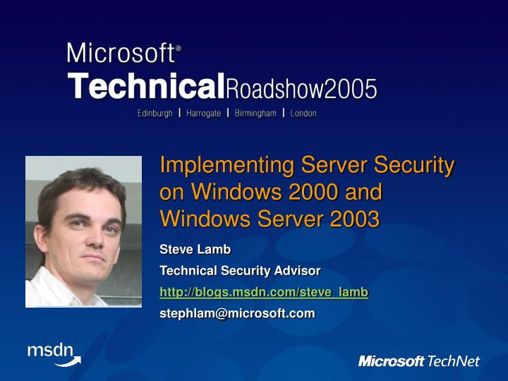 implementing server security on windows 2000 and windows server 2003 n.