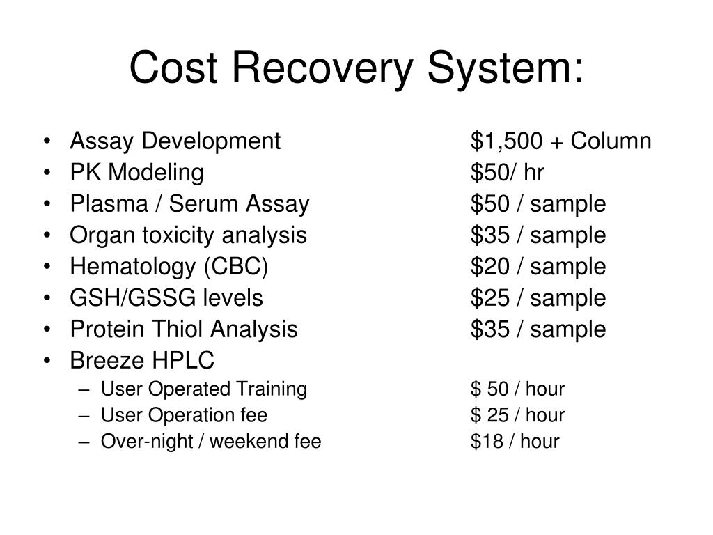 Cost Recovery System: