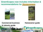 greenscapes now includes information recommendations for homeowners