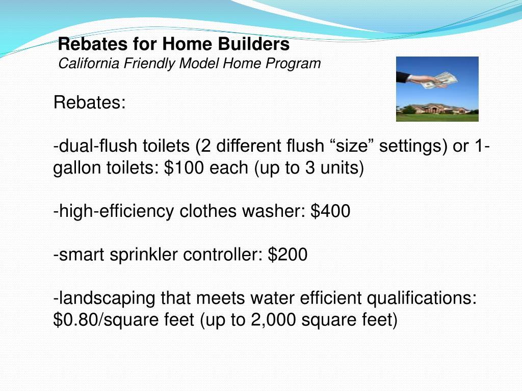 Rebates for Home Builders