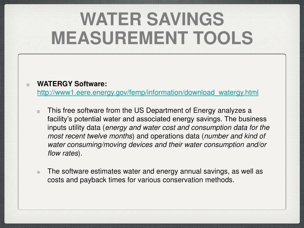 WATER SAVINGS MEASUREMENT TOOLS