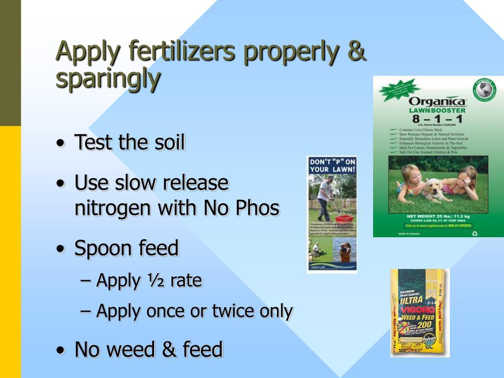 Apply fertilizers properly & sparingly