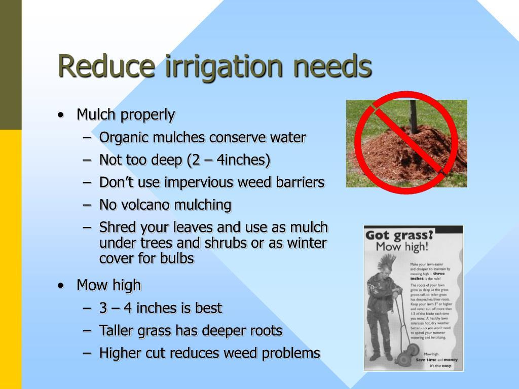 Reduce irrigation needs