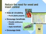 reduce the need for weed and insect control40