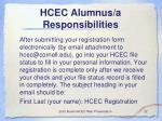 hcec alumnus a responsibilities