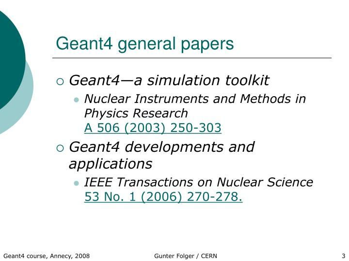 Geant4 general papers