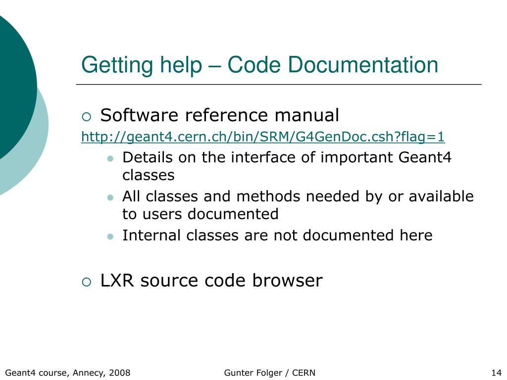Getting help – Code Documentation