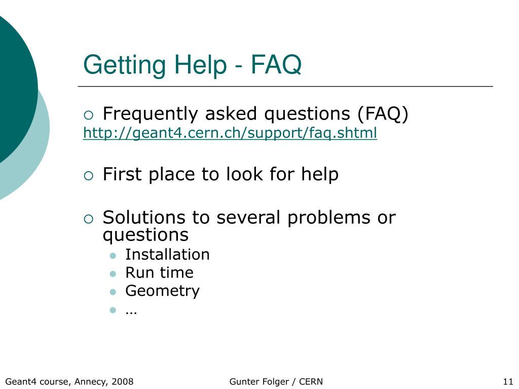 Getting Help - FAQ