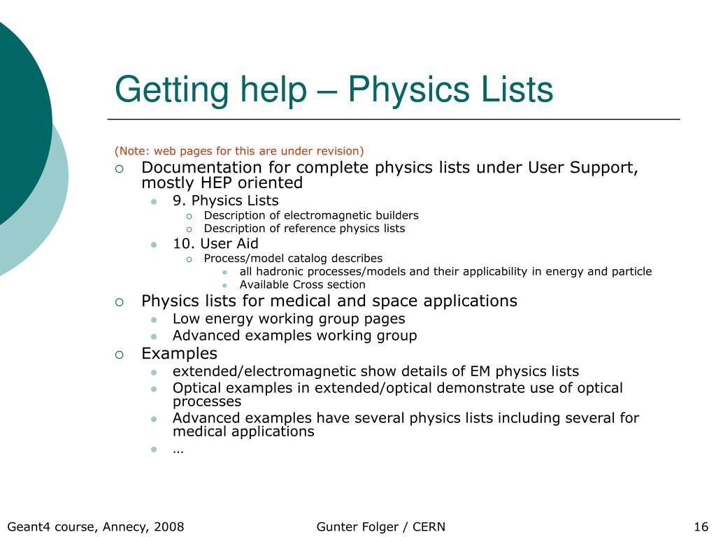 Getting help – Physics Lists
