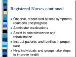 registered nurses continued