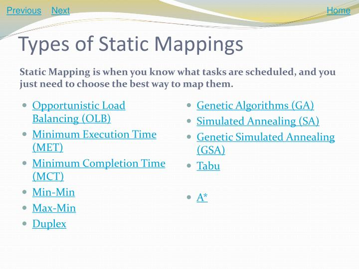Types of static mappings
