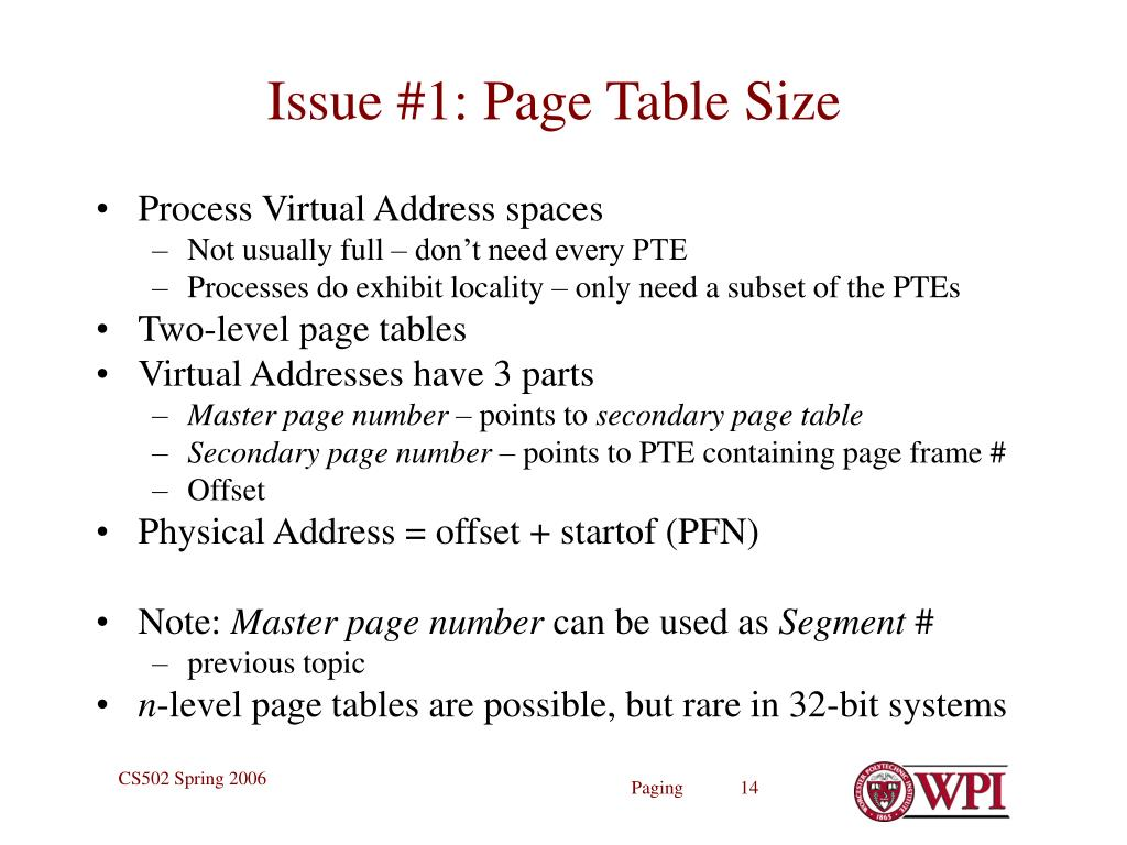 Issue #1: Page Table Size