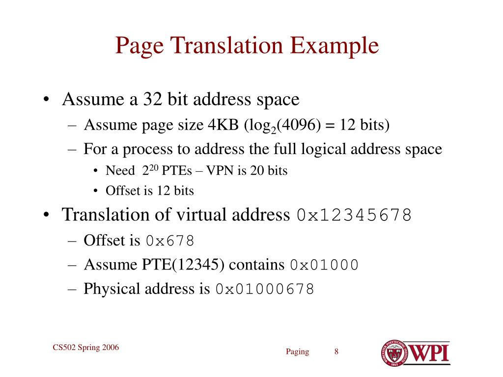 Page Translation Example